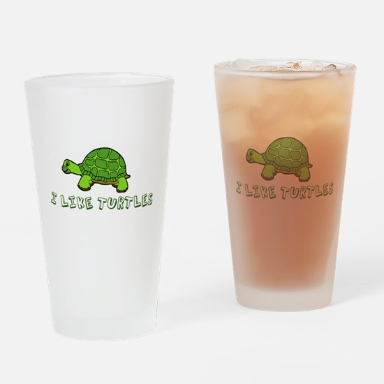 I Like Turtles Drinking Glass