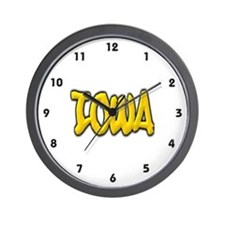 Iowa Graffiti Wall Clock