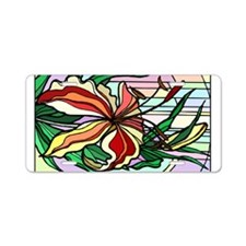 Stained Glass Lily Aluminum License Plate