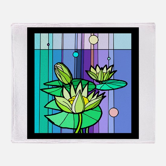 Stained Glass Waterlily Throw Blanket