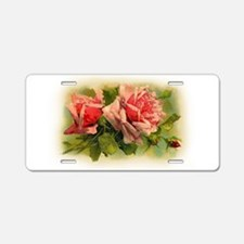 Pink Roses Aluminum License Plate