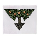 Art Nouveau Orange Tree Throw Blanket