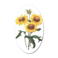 Redoute Sunflowers 22x14 Oval Wall Peel