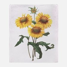Redoute Sunflowers Throw Blanket