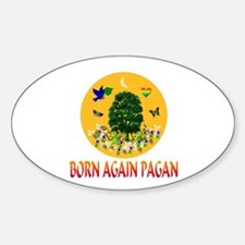 Born Again Pagan Oval Decal