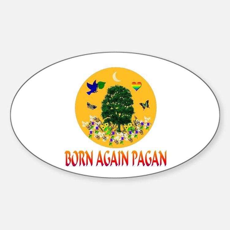 Born Again Pagan Oval Decal