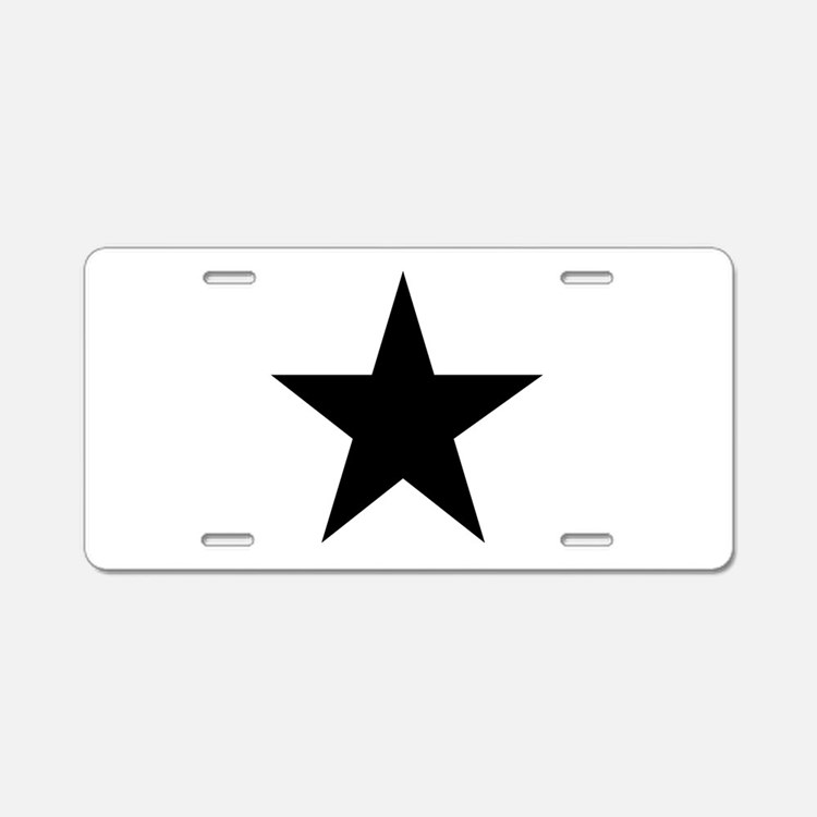 Black 5-Pointed Star Aluminum License Plate