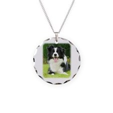 Border Collie 9A014D-14 Necklace Circle Charm