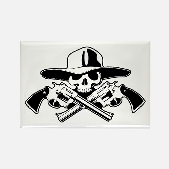 Bandito Skull w/ Pistolas Rectangle Magnet