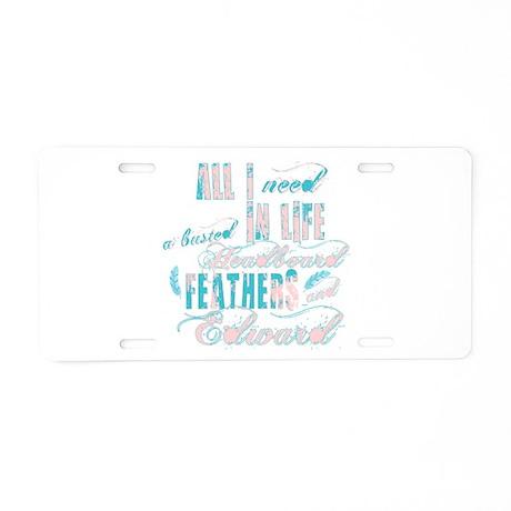 Headboard feathers & Edward Aluminum License Plate