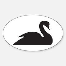 Black Swan Silhouette Sticker (Oval)