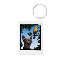 Cat and Bird Keychains