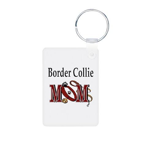 Border Collie Mom Aluminum Photo Keychain