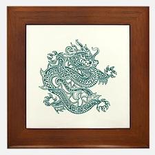 Teal Dragon Framed Tile
