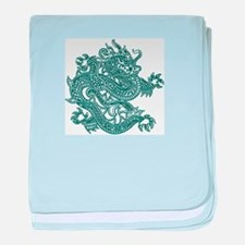 Teal Dragon baby blanket