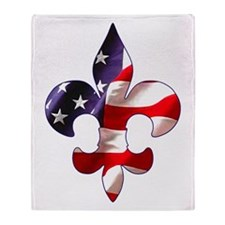Fleur de lis Stars & Stripes Throw Blanket
