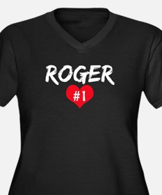 Roger number one Women's Plus Size V-Neck Dark T-S