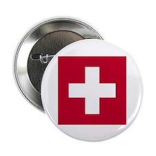 """Switzerland Swiss Suisse (CH) Flag - 2.25"""" Button"""