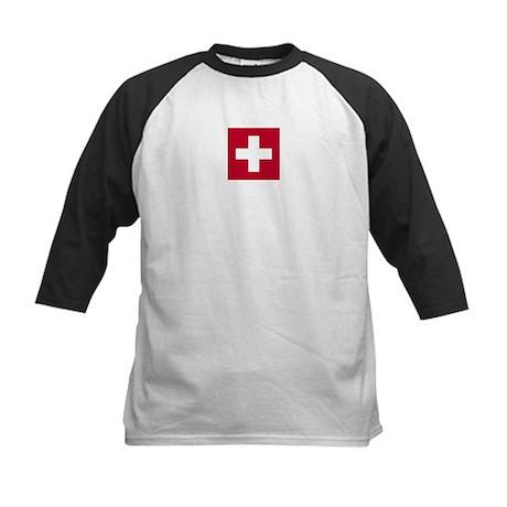 Switzerland Swiss Suisse (CH) Flag - Kids Basebal