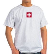 Switzerland Swiss Suisse (CH) Flag -  Ash Grey T-S