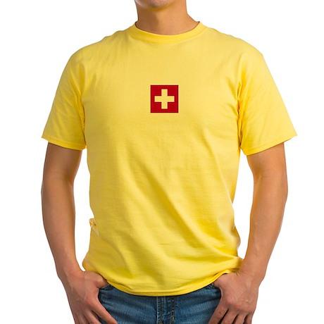 Switzerland Swiss Suisse (CH) Flag - Yellow T-Shi