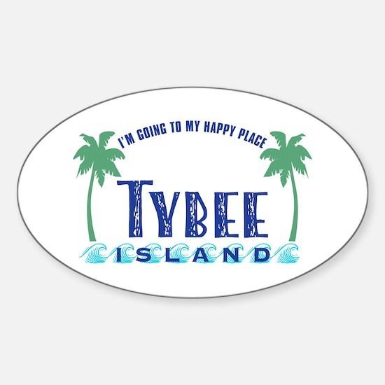 Tybee Happy Place - Sticker (Oval)
