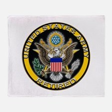 US Army Retired Eagle Throw Blanket
