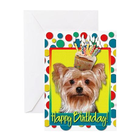 Birthday Cupcake - Yorkie Greeting Card