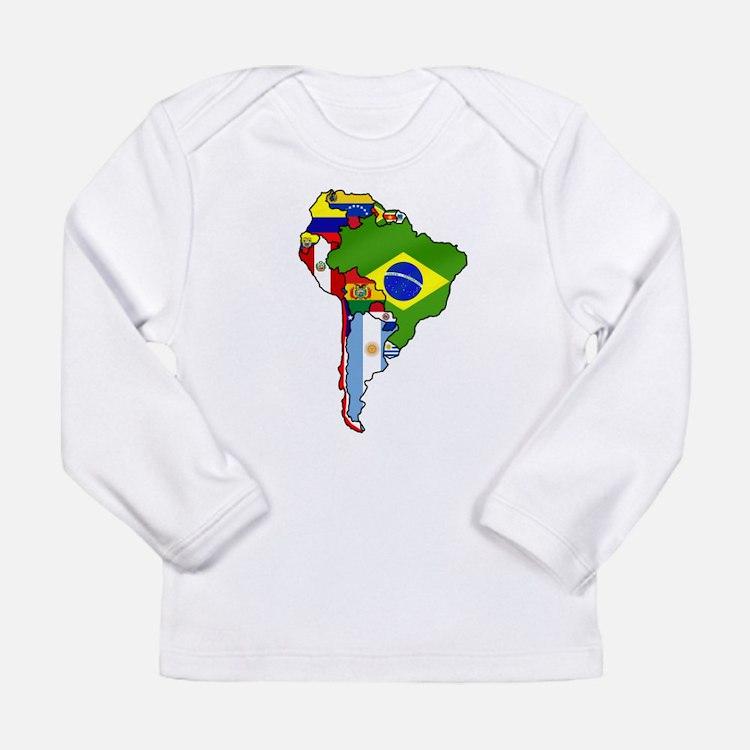South America Flag Map Long Sleeve Infant T-Shirt