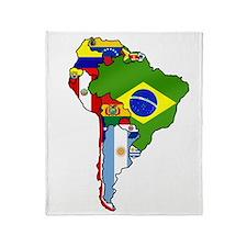 South America Flag Map Throw Blanket