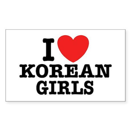 I Love Korean Girls Rectangle Sticker