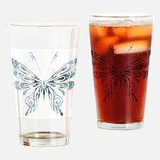Blue Tribal Butterfly Tattoo Pint Glass