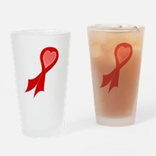 Red AIDS RIbbon with Heart Pint Glass