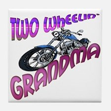 TWO WHEELIN' GRANDMA Tile Coaster