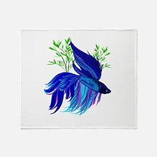 Big Blue Siamese Fighting Fis Throw Blanket