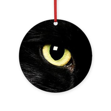 Black Cat Eyes Ornament (Round)
