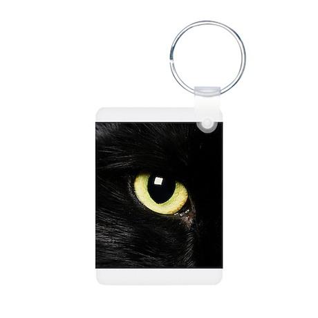 Black Cat Eyes Aluminum Photo Keychain