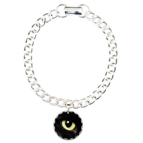 Black Cat Eyes Charm Bracelet, One Charm