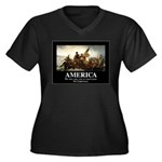 America: We Women's Plus Size V-Neck Dark T-Shirt