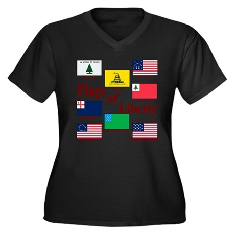 The Flags Of Liberty Women's Plus Size V-Neck Dark
