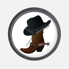 Western Boot & Hat Icon Wall Clock