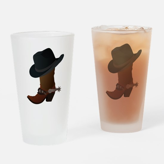 Western Boot & Hat Icon Pint Glass