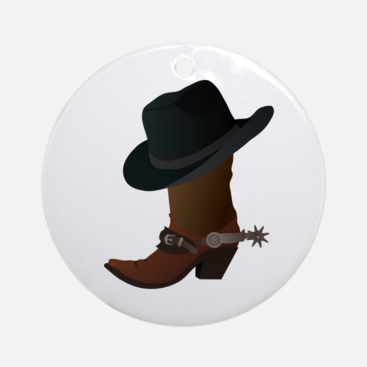 Western Boot & Hat Icon Ornament (Round)