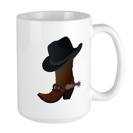Western Boot & Hat Icon Large Mug
