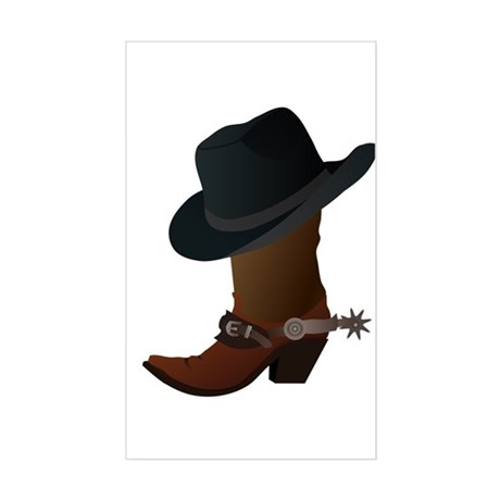 Western Boot & Hat Icon Sticker (Rectangle)
