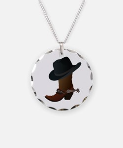 Western Boot & Hat Icon Necklace