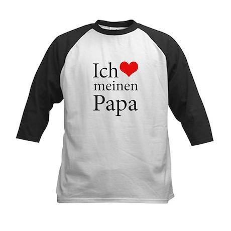 I Love Dad (German) Kids Baseball Jersey