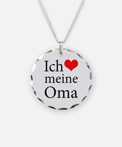 I Love Grandma (German) Necklace Circle Charm