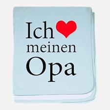 I Love Grandpa (German) baby blanket