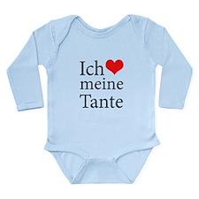 I Love Aunt (German) Long Sleeve Infant Bodysuit